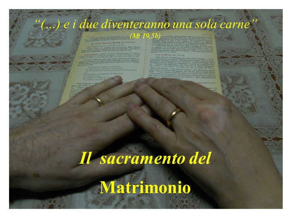 (…) e i due diventeranno una sola carne (Mt 19,5b) Il sacramento del Matrimonio