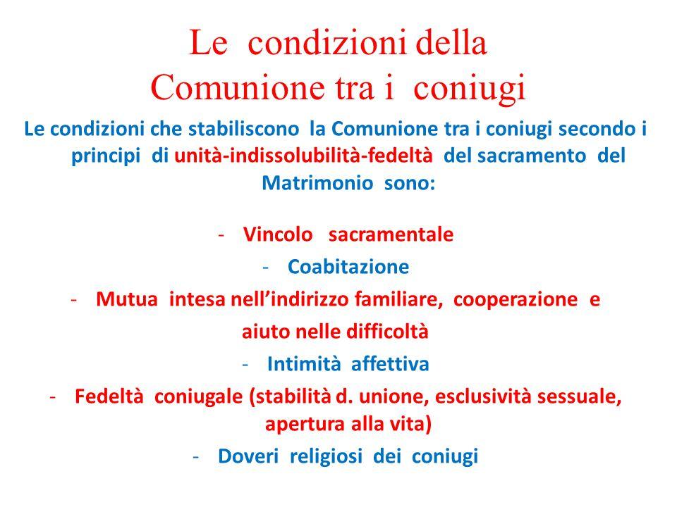 Le condizioni della Comunione tra i coniugi