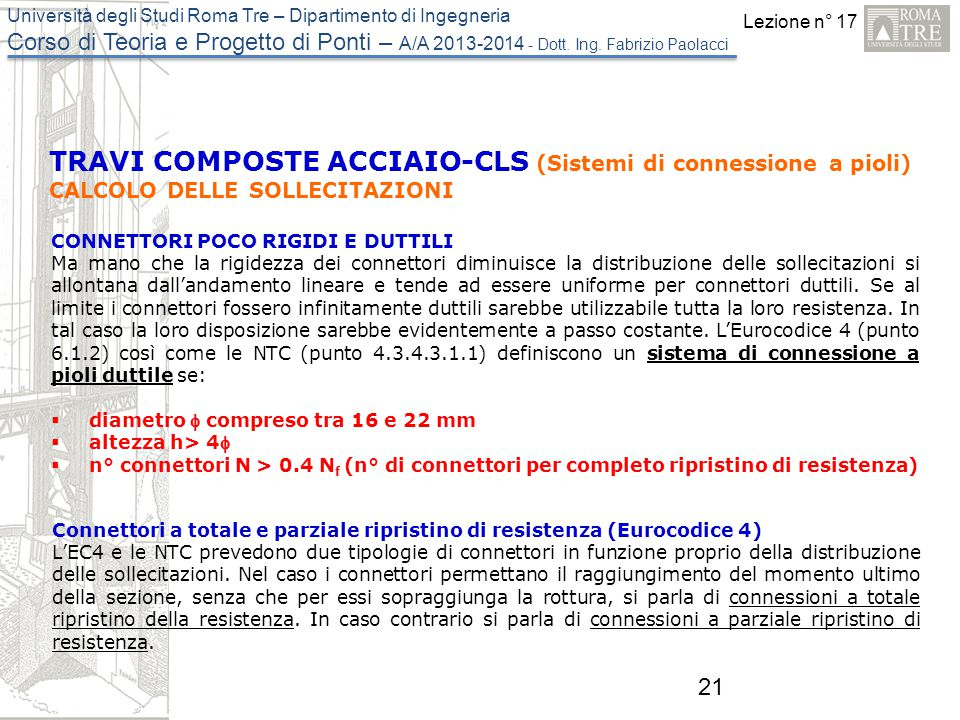 TRAVI COMPOSTE ACCIAIO-CLS (Sistemi di connessione a pioli)