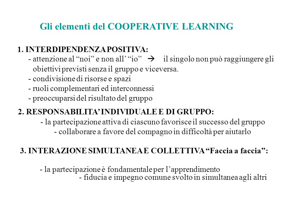 Gli elementi del COOPERATIVE LEARNING