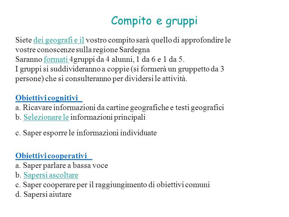 Compito e gruppi Siete dei geografi e il vostro compito sarà quello di approfondire le. vostre conoscenze sulla regione Sardegna.