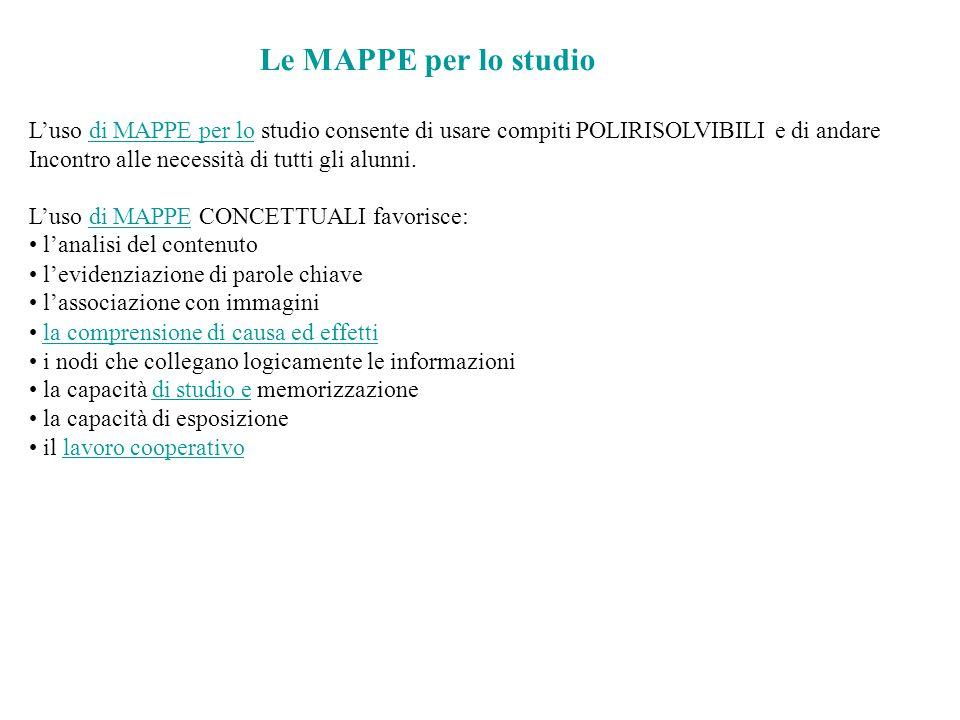 Le MAPPE per lo studio L'uso di MAPPE per lo studio consente di usare compiti POLIRISOLVIBILI e di andare.
