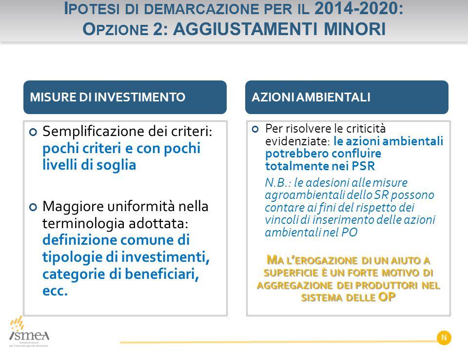 Ipotesi di demarcazione per il 2014-2020: Opzione 2: AGGIUSTAMENTI MINORI