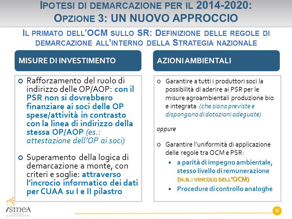 Ipotesi di demarcazione per il 2014-2020: Opzione 3: UN NUOVO APPROCCIO