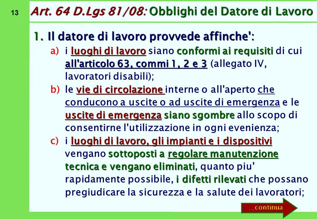 Art. 64 D.Lgs 81/08: Obblighi del Datore di Lavoro