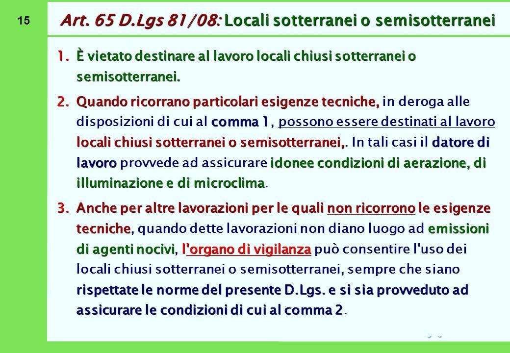 Art. 66 D.Lgs 81/08: Locali in ambienti di sospetto inquinamento