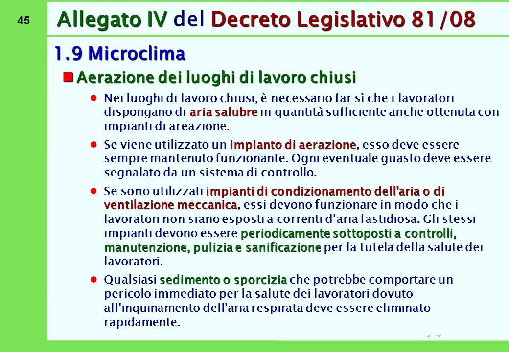 Allegato IV del Decreto Legislativo 81/08