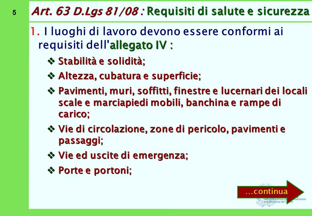 Art. 63 D.Lgs 81/08 : Requisiti di salute e sicurezza