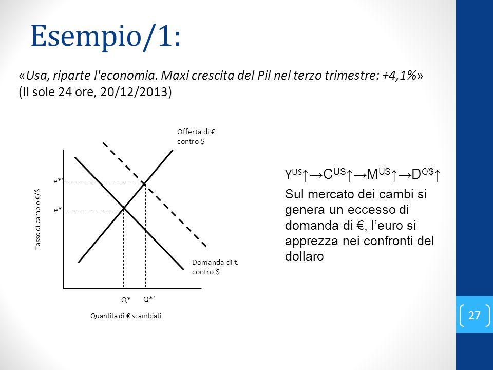 Esempio/1: «Usa, riparte l economia. Maxi crescita del Pil nel terzo trimestre: +4,1%» (Il sole 24 ore, 20/12/2013)