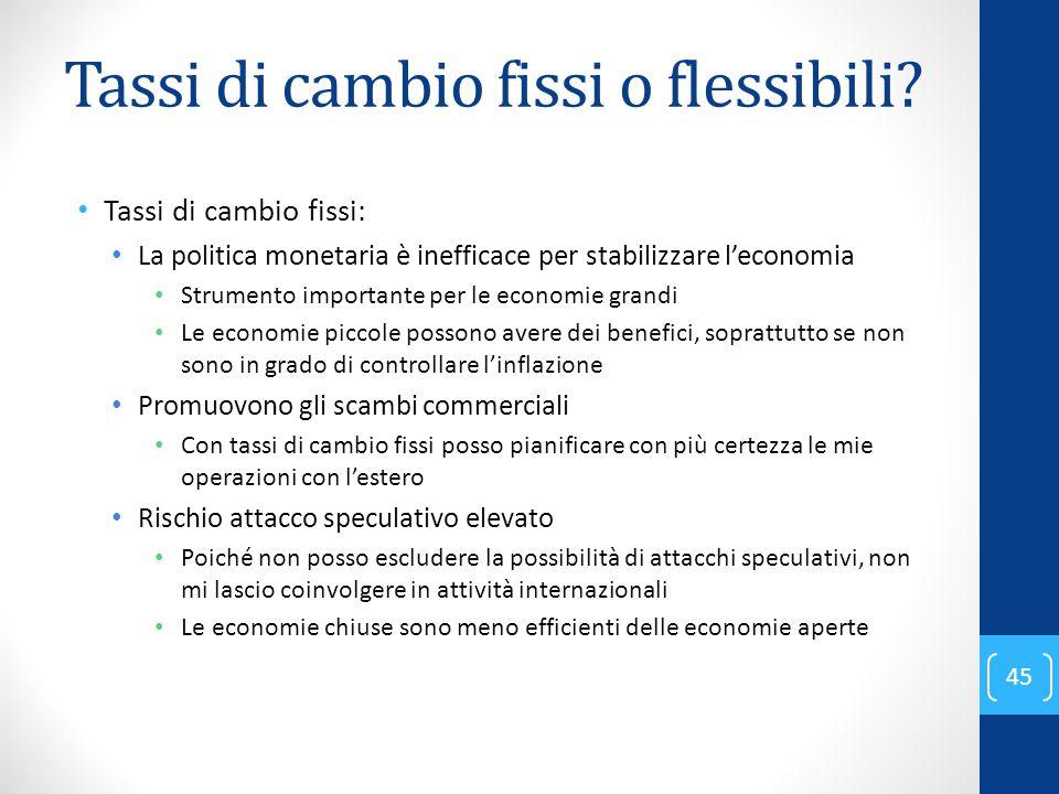 Tassi di cambio fissi o flessibili