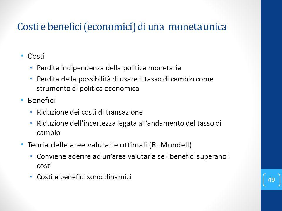 Costi e benefici (economici) di una moneta unica