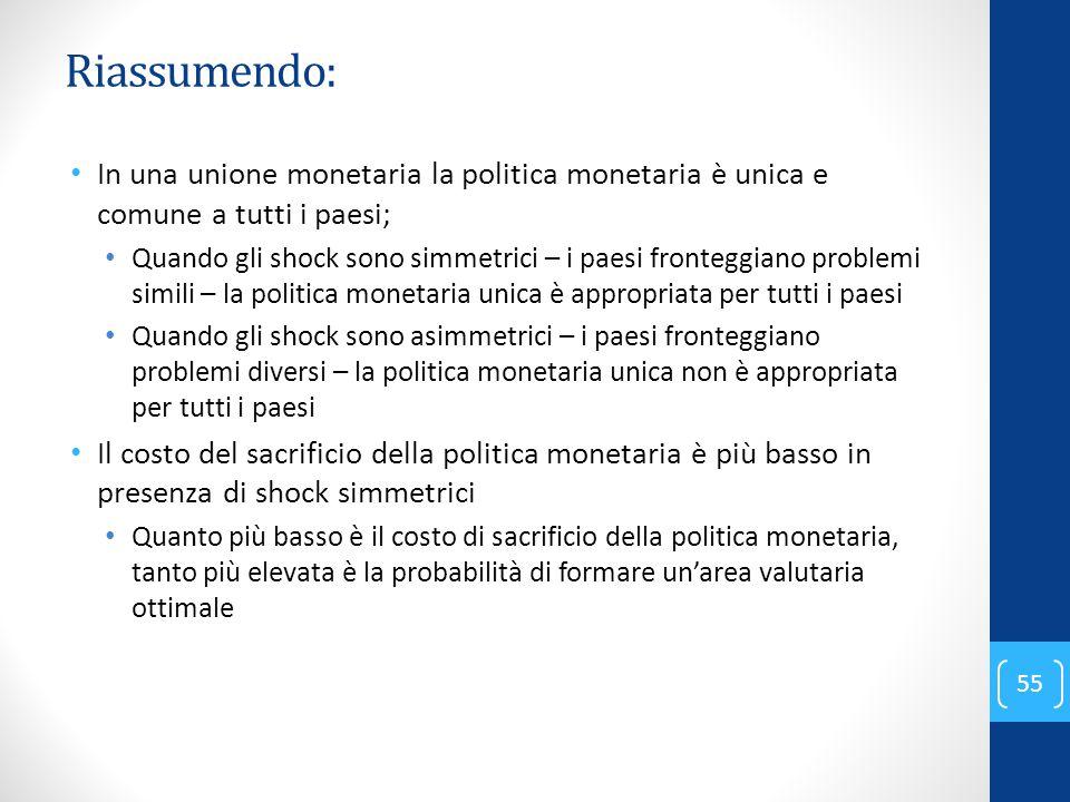 Riassumendo: In una unione monetaria la politica monetaria è unica e comune a tutti i paesi;