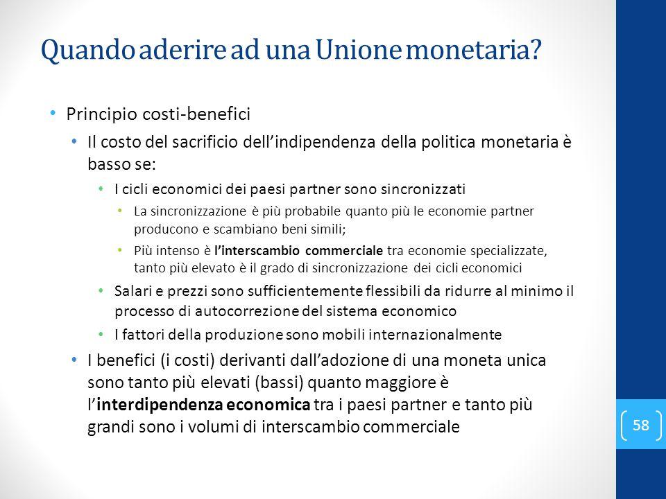 Quando aderire ad una Unione monetaria