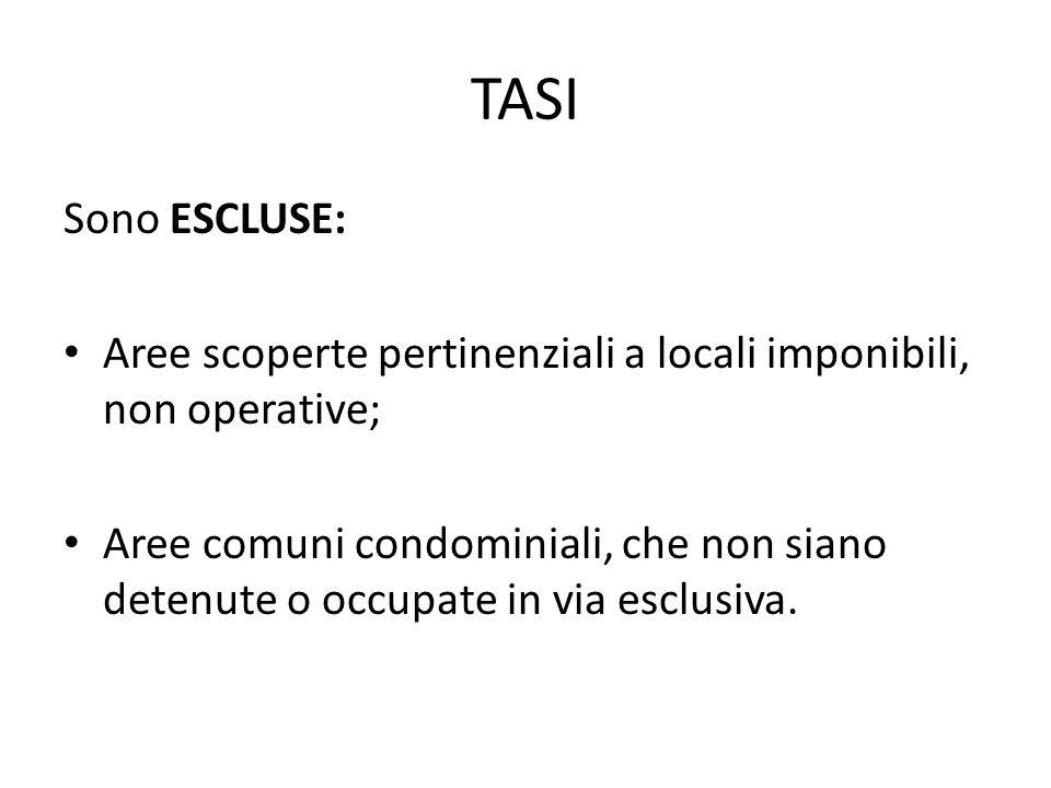 TASI Sono ESCLUSE: Aree scoperte pertinenziali a locali imponibili, non operative;
