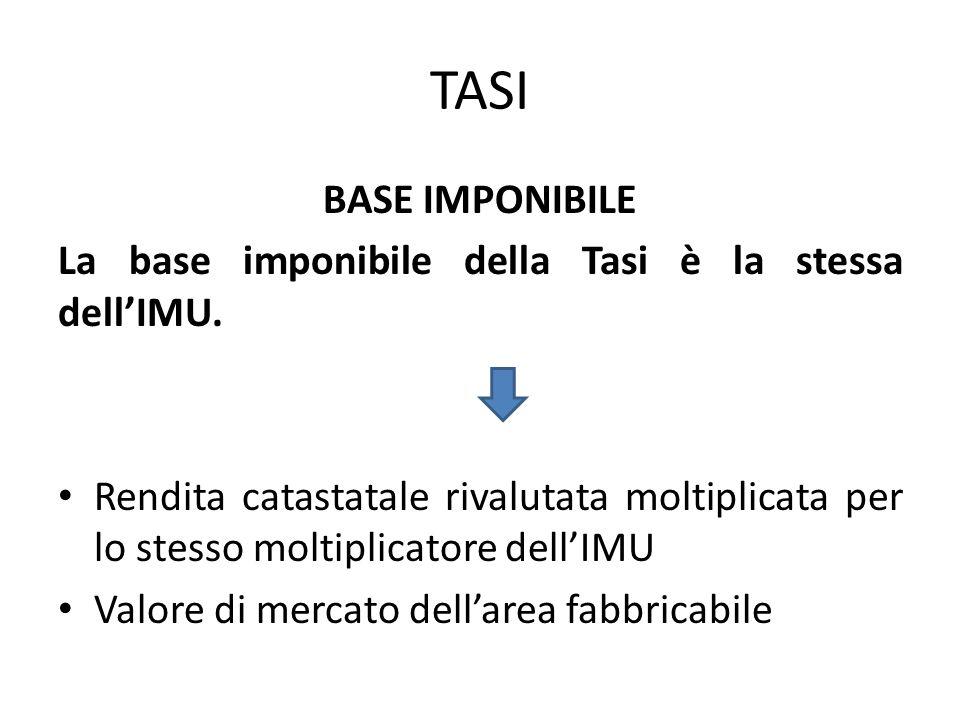 TASI BASE IMPONIBILE. La base imponibile della Tasi è la stessa dell'IMU.