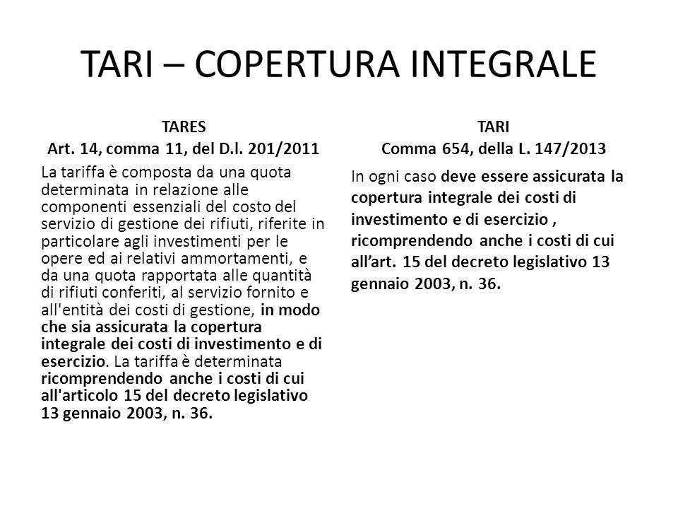 TARI – COPERTURA INTEGRALE