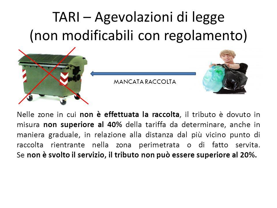 TARI – Agevolazioni di legge (non modificabili con regolamento)