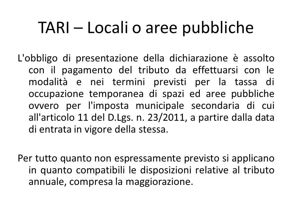 TARI – Locali o aree pubbliche