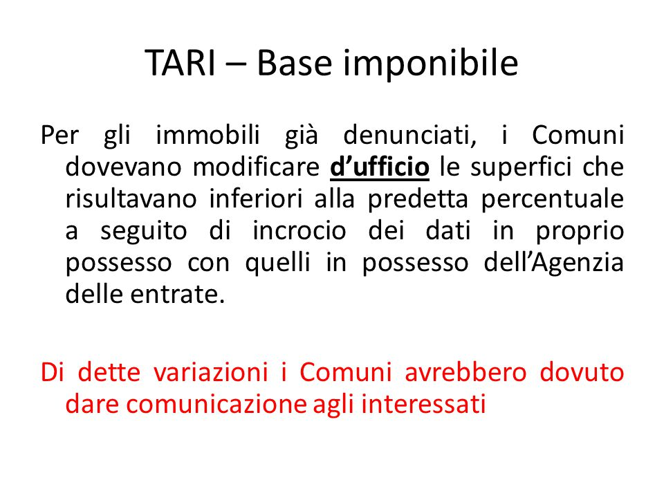 TARI – Base imponibile