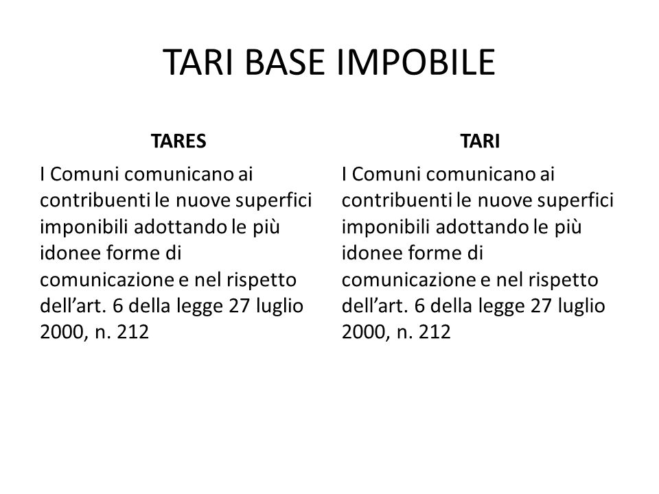 TARI BASE IMPOBILE TARES TARI