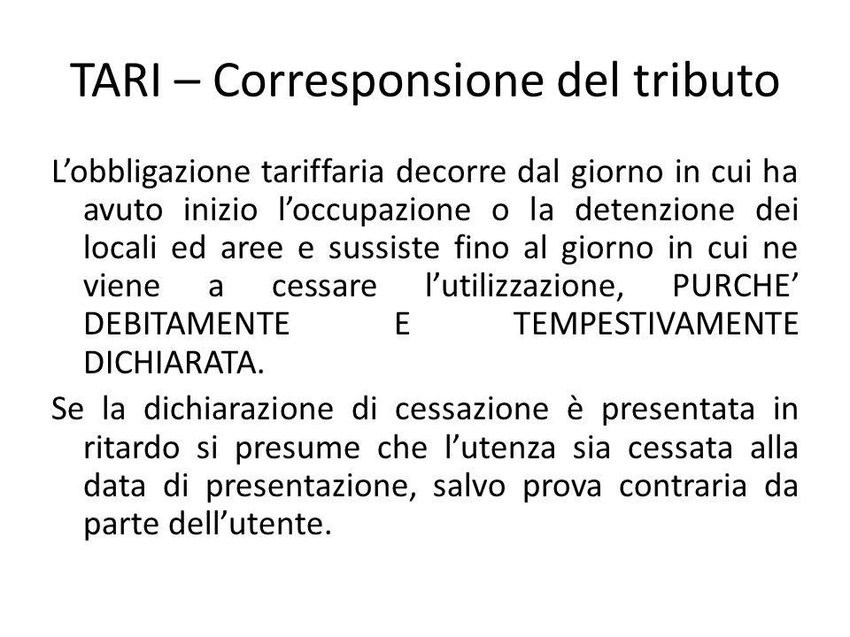 TARI – Corresponsione del tributo