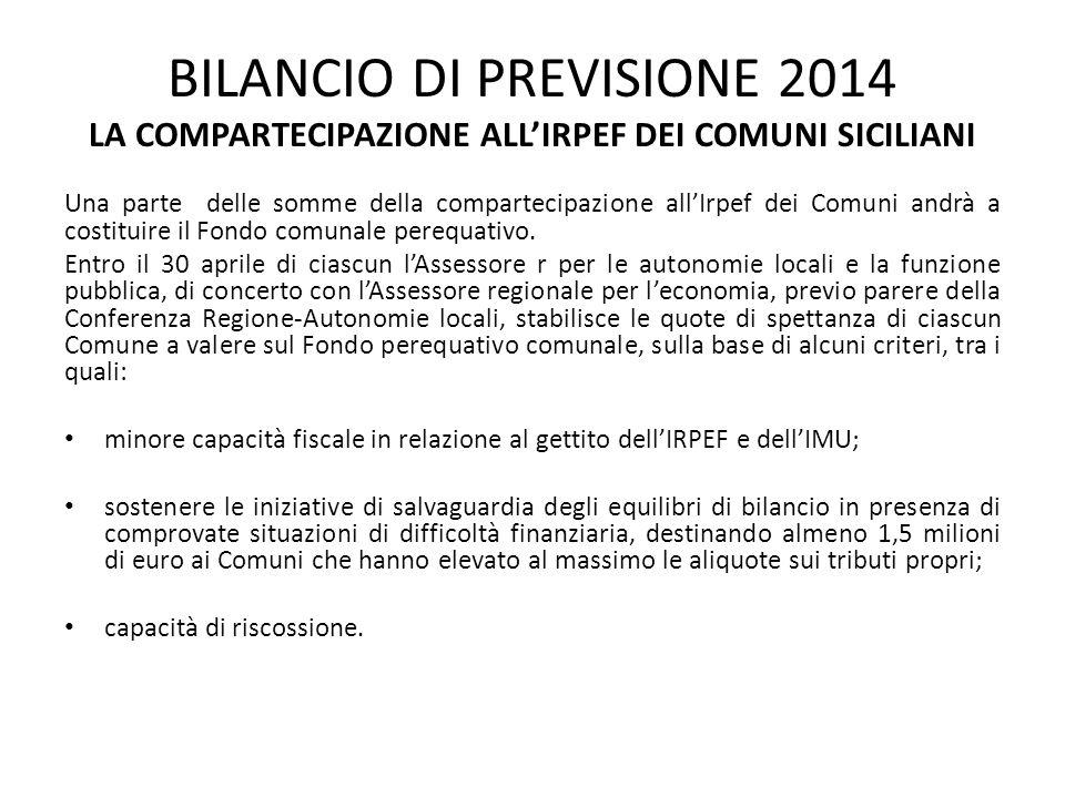 BILANCIO DI PREVISIONE 2014 LA COMPARTECIPAZIONE ALL'IRPEF DEI COMUNI SICILIANI