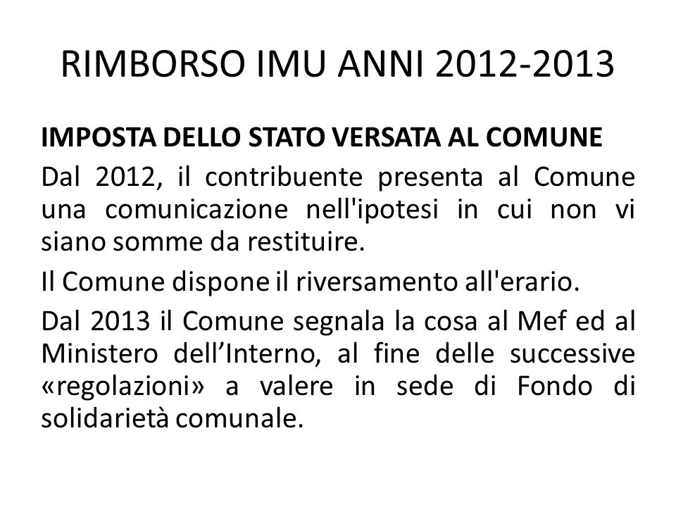 RIMBORSO IMU ANNI 2012-2013