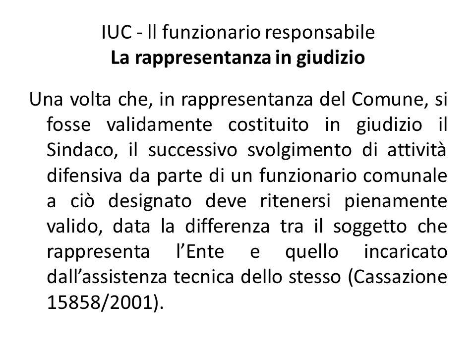 IUC - ll funzionario responsabile La rappresentanza in giudizio