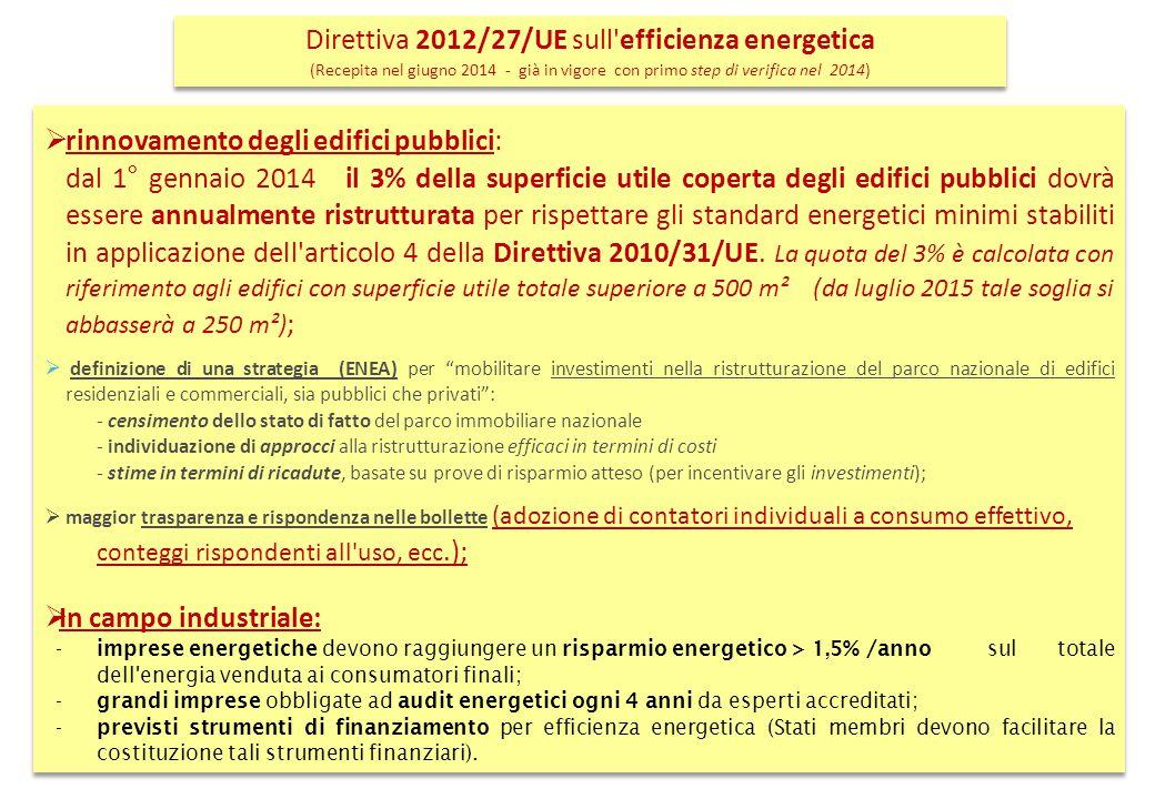 La Direttiva nuova 2012/27/UE ha stabilito la redazione dei Piani d'Azione per l'Efficienza Energetica (PAEE) da parte degli stati membri (in Italia lo redige l'ENEA):