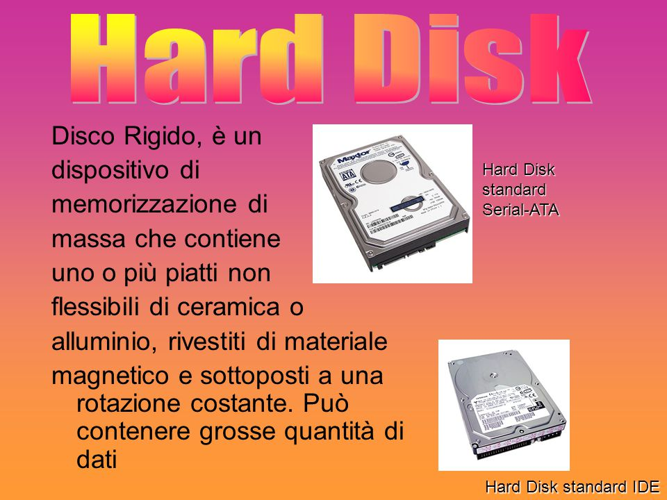 Hard Disk Disco Rigido, è un dispositivo di memorizzazione di