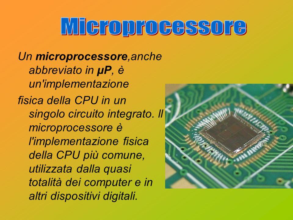 Microprocessore Un microprocessore,anche abbreviato in µP, è un implementazione.