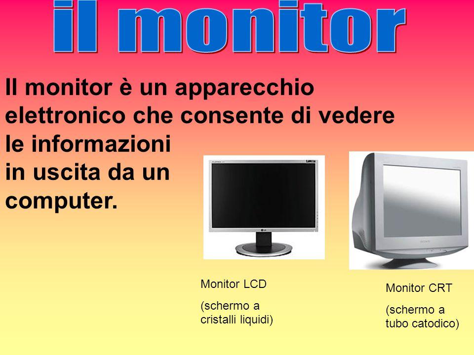 il monitor Il monitor è un apparecchio elettronico che consente di vedere le informazioni. in uscita da un.