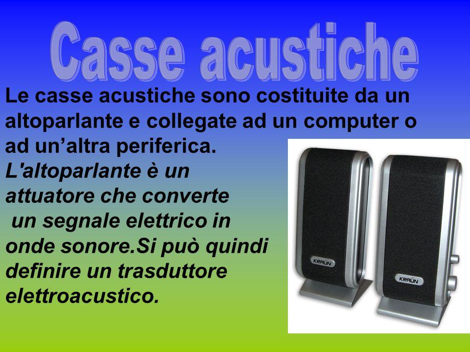 Casse acustiche Le casse acustiche sono costituite da un altoparlante e collegate ad un computer o ad un'altra periferica.