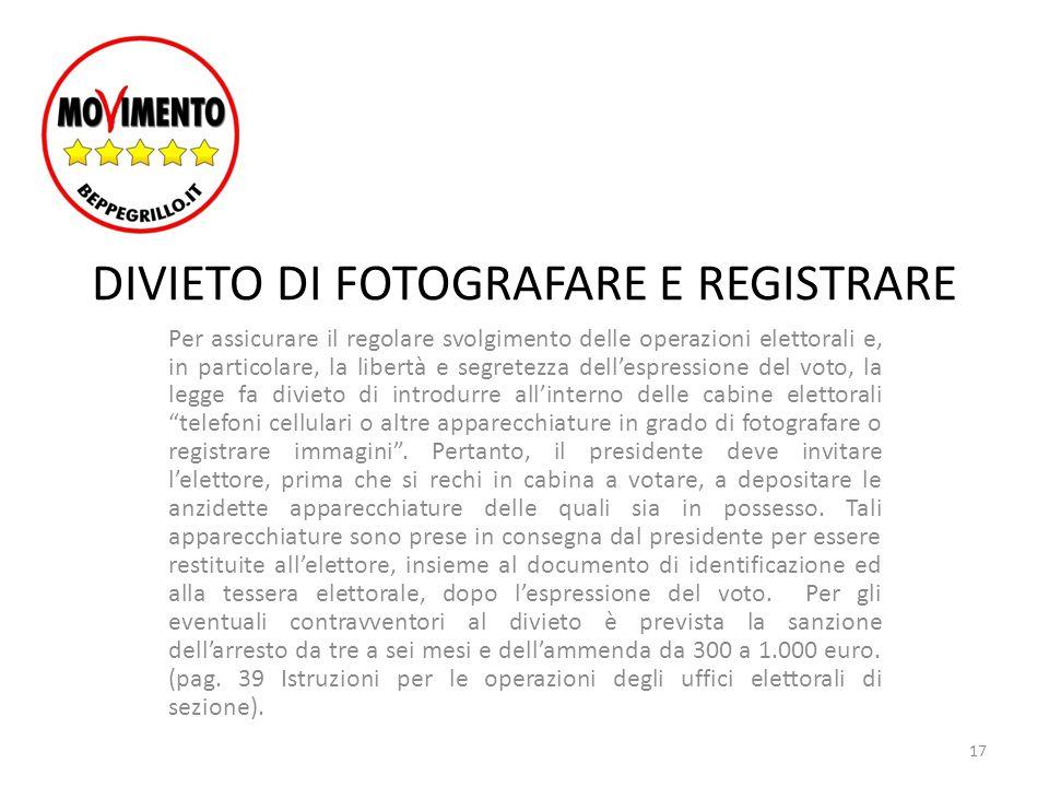 DIVIETO DI FOTOGRAFARE E REGISTRARE