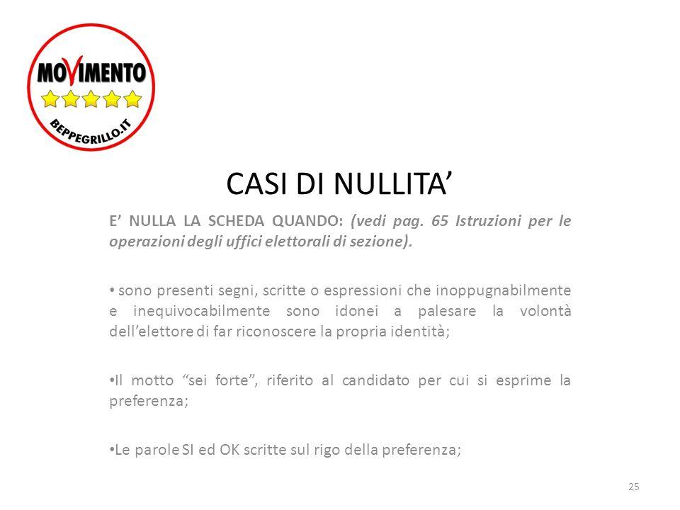 CASI DI NULLITA' E' NULLA LA SCHEDA QUANDO: (vedi pag. 65 Istruzioni per le operazioni degli uffici elettorali di sezione).