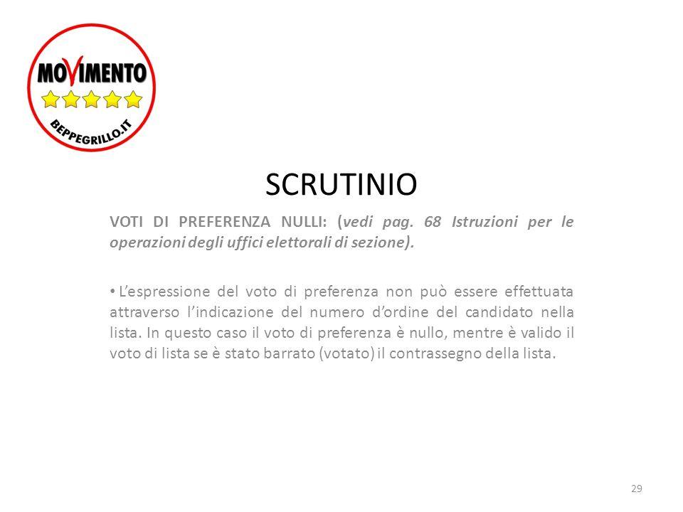 SCRUTINIO VOTI DI PREFERENZA NULLI: (vedi pag. 68 Istruzioni per le operazioni degli uffici elettorali di sezione).