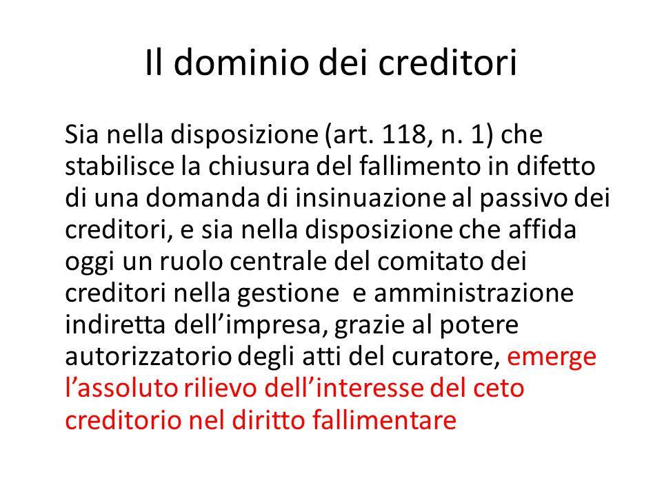 Il dominio dei creditori