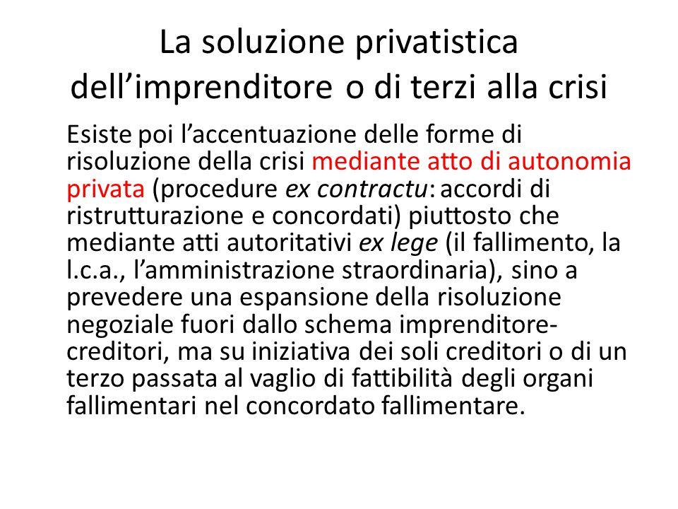 La soluzione privatistica dell'imprenditore o di terzi alla crisi