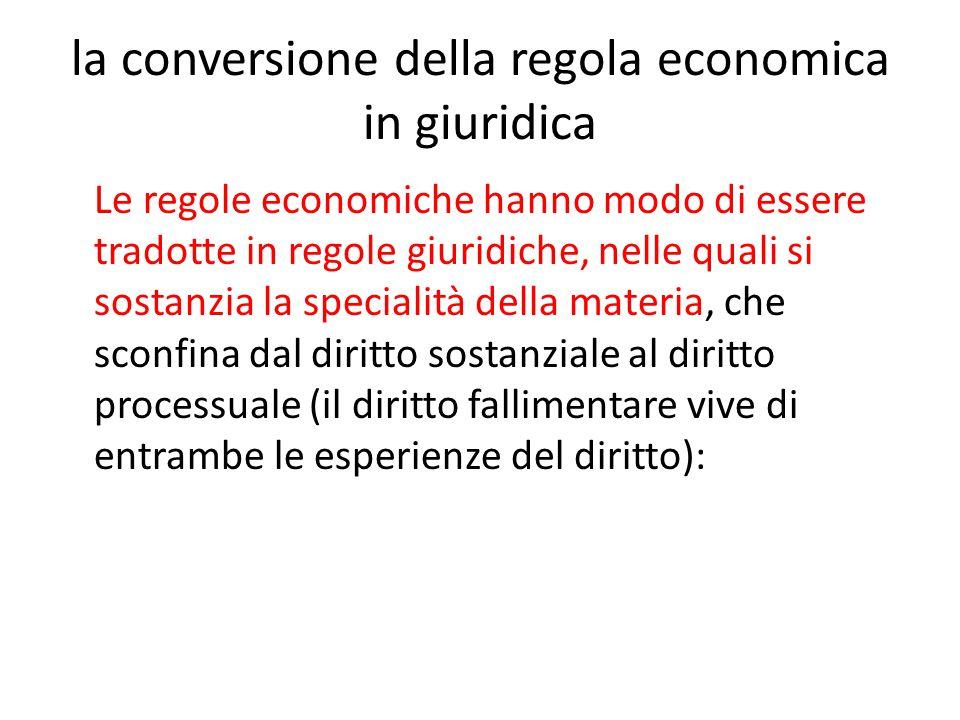 la conversione della regola economica in giuridica