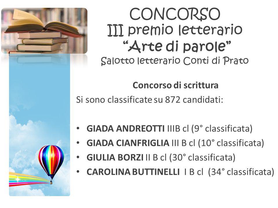 CONCORSO III premio letterario Arte di parole Salotto letterario Conti di Prato