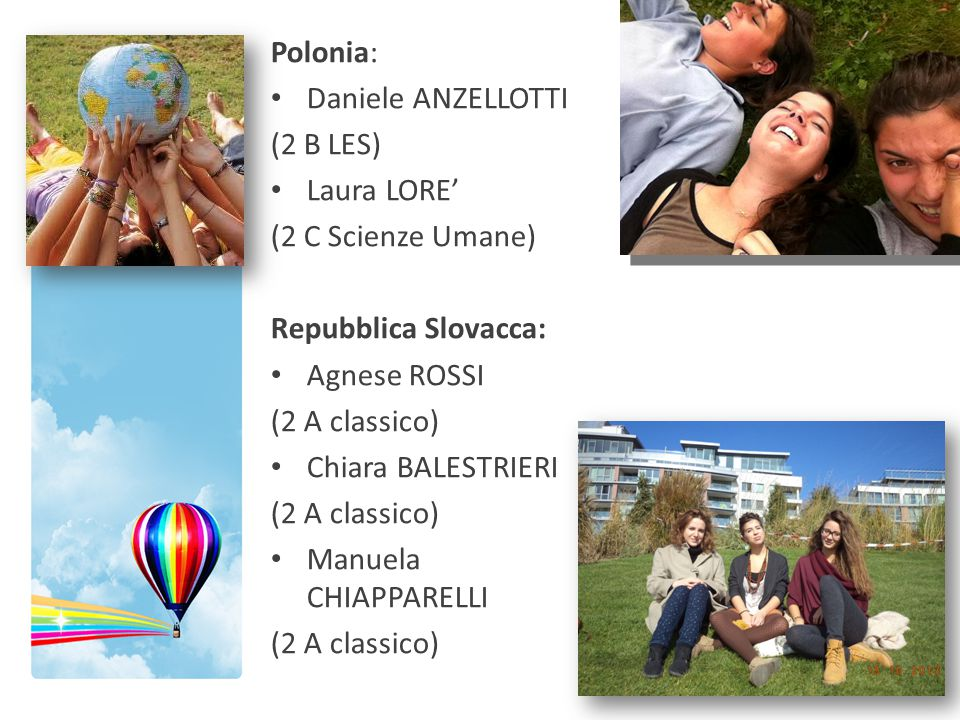 Polonia: Daniele ANZELLOTTI. (2 B LES) Laura LORE' (2 C Scienze Umane) Repubblica Slovacca: Agnese ROSSI.
