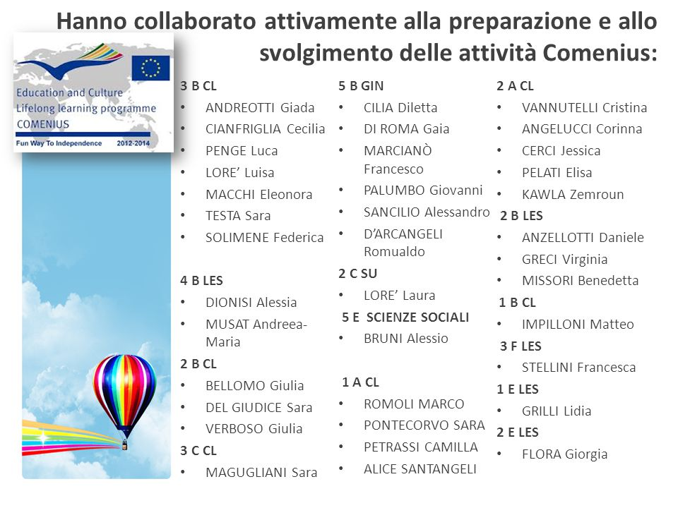 Hanno collaborato attivamente alla preparazione e allo svolgimento delle attività Comenius: