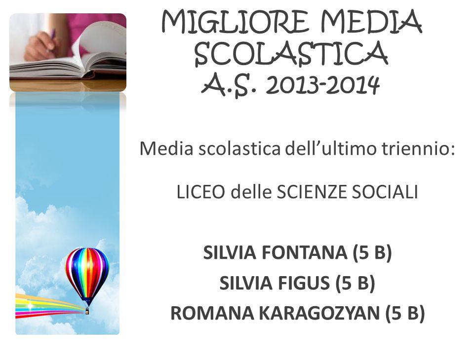 MIGLIORE MEDIA SCOLASTICA A.S. 2013-2014
