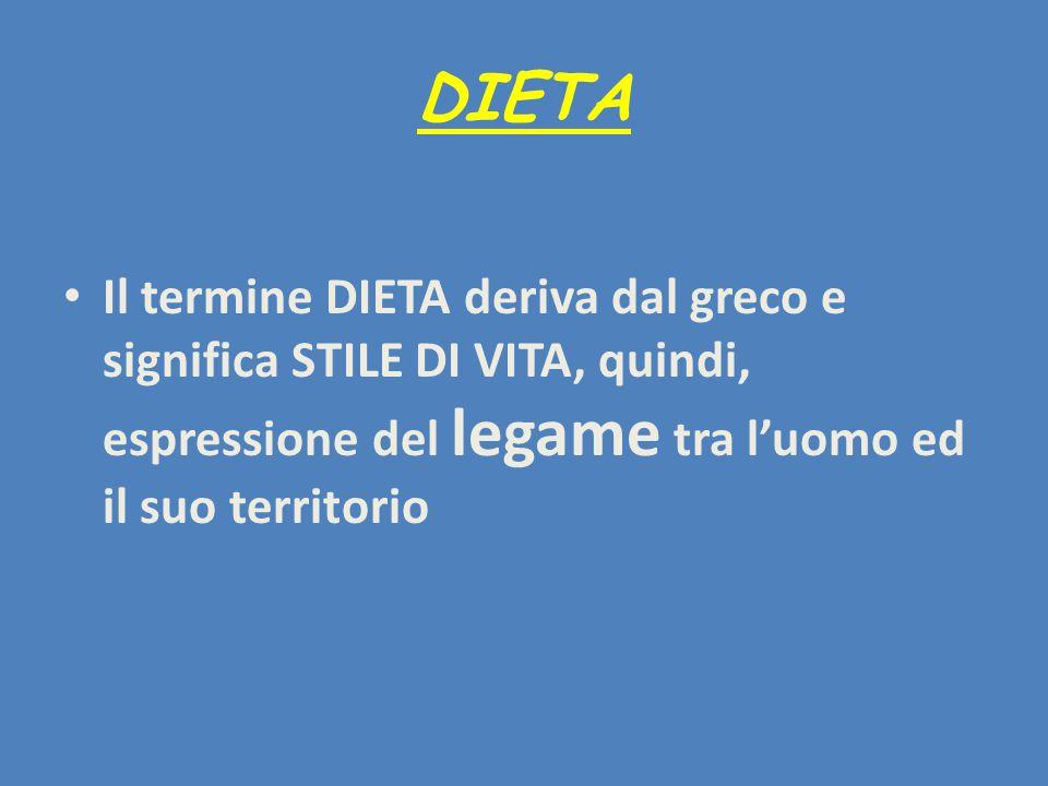 DIETA Il termine DIETA deriva dal greco e significa STILE DI VITA, quindi, espressione del legame tra l'uomo ed il suo territorio.