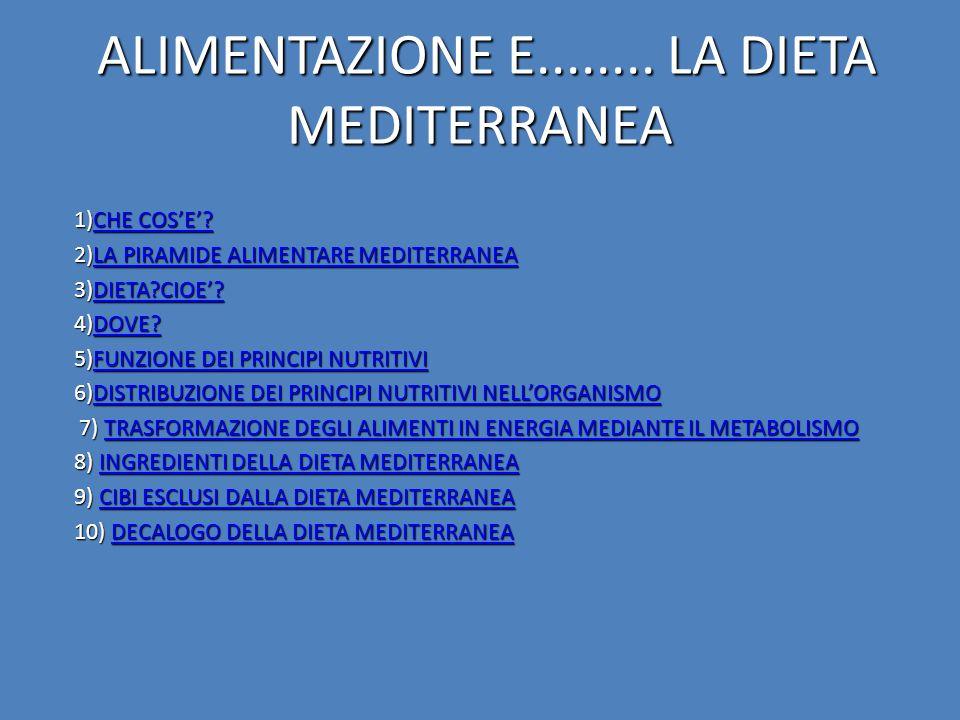 ALIMENTAZIONE E........ LA DIETA MEDITERRANEA