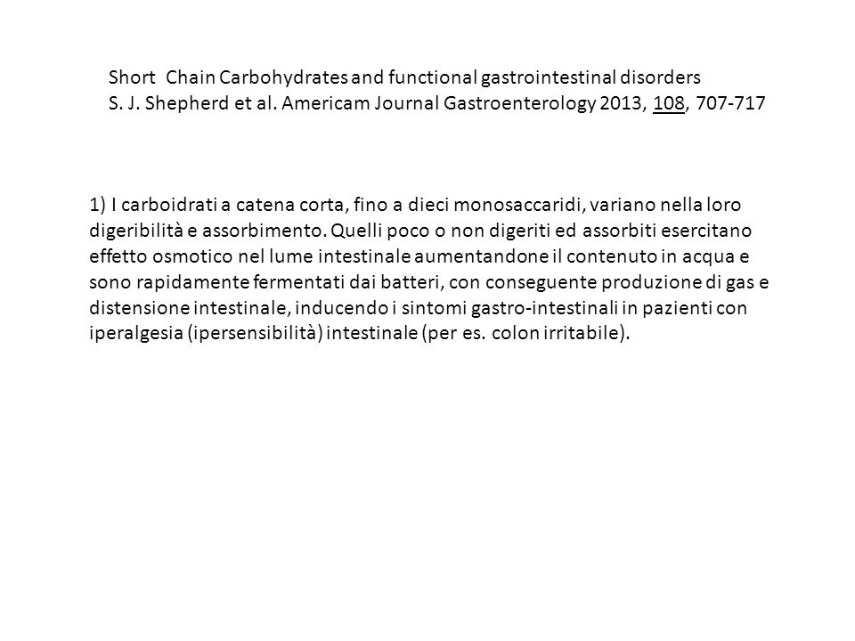 Short Chain Carbohydrates and functional gastrointestinal disorders