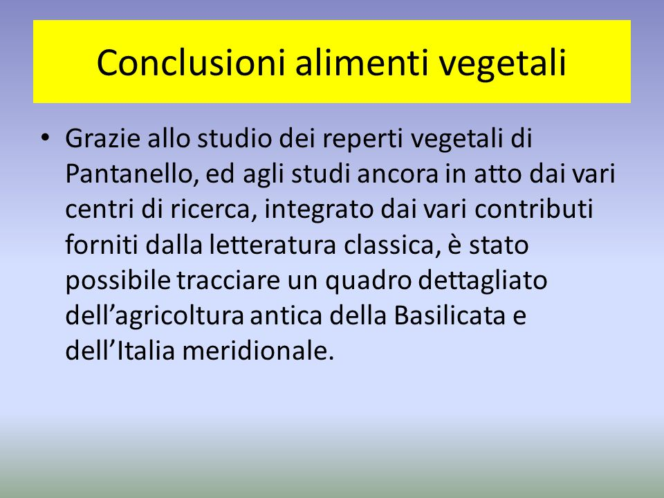 Conclusioni alimenti vegetali