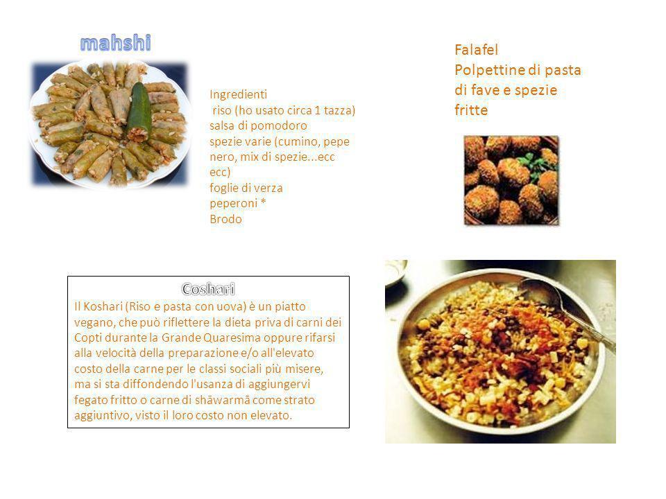 mahshi Falafel Polpettine di pasta di fave e spezie fritte Coshari