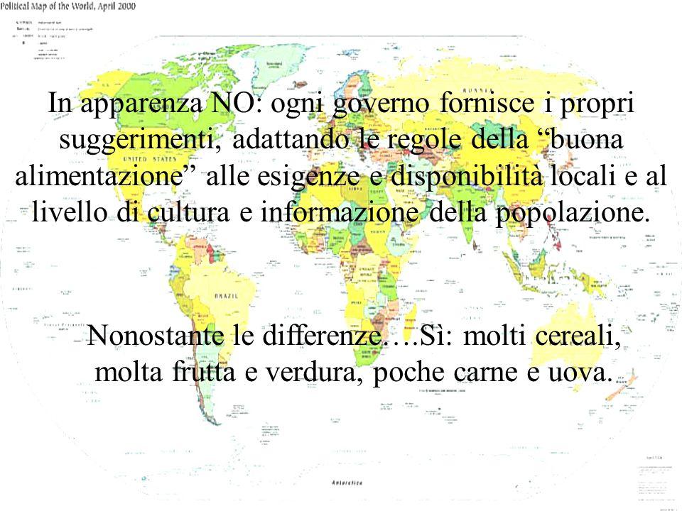 In apparenza NO: ogni governo fornisce i propri suggerimenti, adattando le regole della buona alimentazione alle esigenze e disponibilità locali e al livello di cultura e informazione della popolazione.
