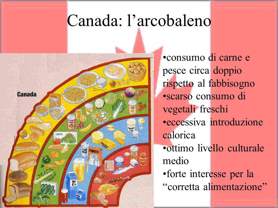 Canada: l'arcobaleno consumo di carne e pesce circa doppio rispetto al fabbisogno. scarso consumo di vegetali freschi.